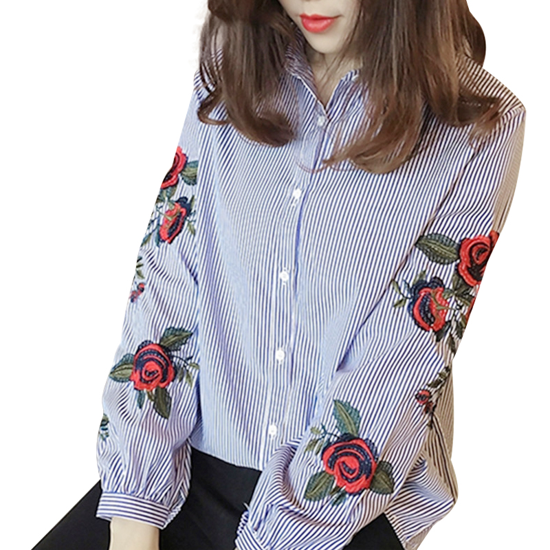 Women Blouses Ladies Floral Embroidery Blouse Lant...
