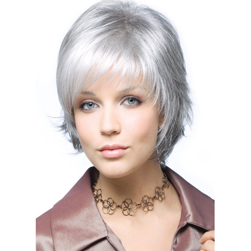 New Fashion Women White Color Straight Bob Hairstyle Synthetic Hair Wigs Hot Sale SW0118<br><br>Aliexpress