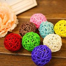 50pcs/lot 3cm Multicolor Rattan Ball Sepak Takraw Balls for Home Christmas DIY Ornaments Wedding Party Decoration Kid Toys