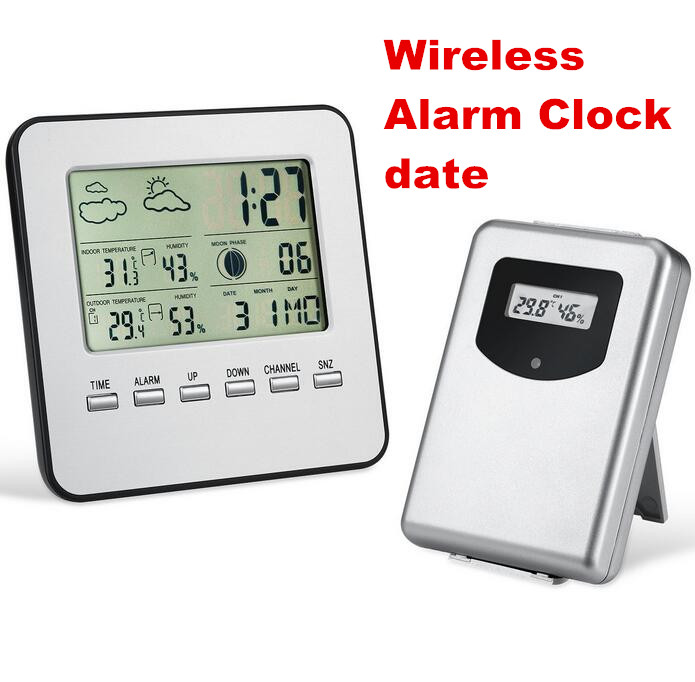 Digital Home Wireless Weather Station Table Desktop Calendar Alarm Clock  Temperature meter Thermometer Humidity Hygrometer<br><br>Aliexpress