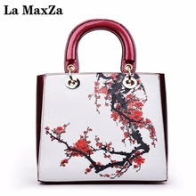 La MaxZa Fashion Chinese Style Female Bag Women Shoulder Bag Patent Leather Handbag With Floral Printed(China)