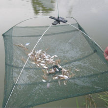 Nylon Foldable Crab Fish Crawdad Shrimp Fishing accessories 80 x 80cm Bait Trap Cast Net Fishing Cage k8356 Wholesale
