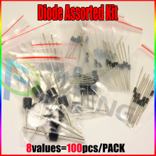 1N4148 1N4007 1N5819 1N5399 1N5408 1N5822 FR107 FR207,8values=100pcs,Electronic Components Package,Diode Assorted Kit
