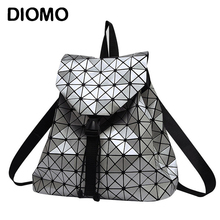 Women Backpack Feminine Geometric Plaid Sequin Female Backpacks For Teenage Girls Bagpack Drawstring Bag Holographic Backpack(China)