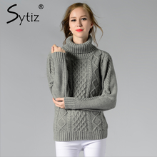 Sytiz Turtleneck Women Sweater Twisted Flowers 2017 Casual Vintage Knitwear Pullover Christmas Female Sweater Winter Autumn(China)