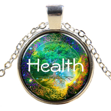 Retro HEALTH Tree Of Life Pendant Chain Necklace Silver(China)