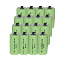 16PCS UNITEK Sub C sc 1.2V rechargeable battery 2200mah ni-mh nimh cell with welding tab pins for power tools,vacuum cleaner