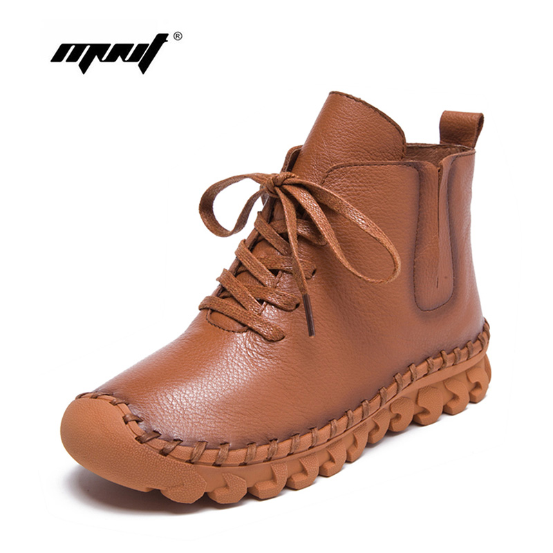 Shoes Women Lace-up Natural Leather Ankle Boots Two Style Handmade Lace-Up Women Winter Shoes zapatos mujer<br>