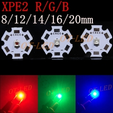 10PCS Cree XPE2 XP-E2 Led Emitter Light Red 620NM Green 525NM Blue 460NM On 20MM/16MM/14MM/12MM/8MM Aluminum PCB Board(China)
