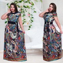 2017 New Designer Women Plus Size Dress Vestidos Print Floor Length Sexy Beach O Neck A Line Bow Oversized Maxi 6XL Flower Dress