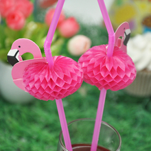 30PCS/Pack 3D Flamingo Pink Cocktail Paper Straws Umbrella Drinking Straws Party Decoration Pink color