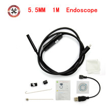 1M 5.5mm Lens HD 720P USB Endoscope Waterproof 6 LEDs Inspection Pipe Endoscope Camera Borescope For Android Phone PC(China)