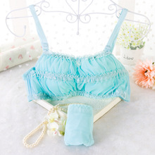 JYF Brand High Quality Women Sweet Lace Bra Cotton Comfortable Lovely Bra Set Young Girls Solid Bra Brief Sets Sexy Bra+Panties