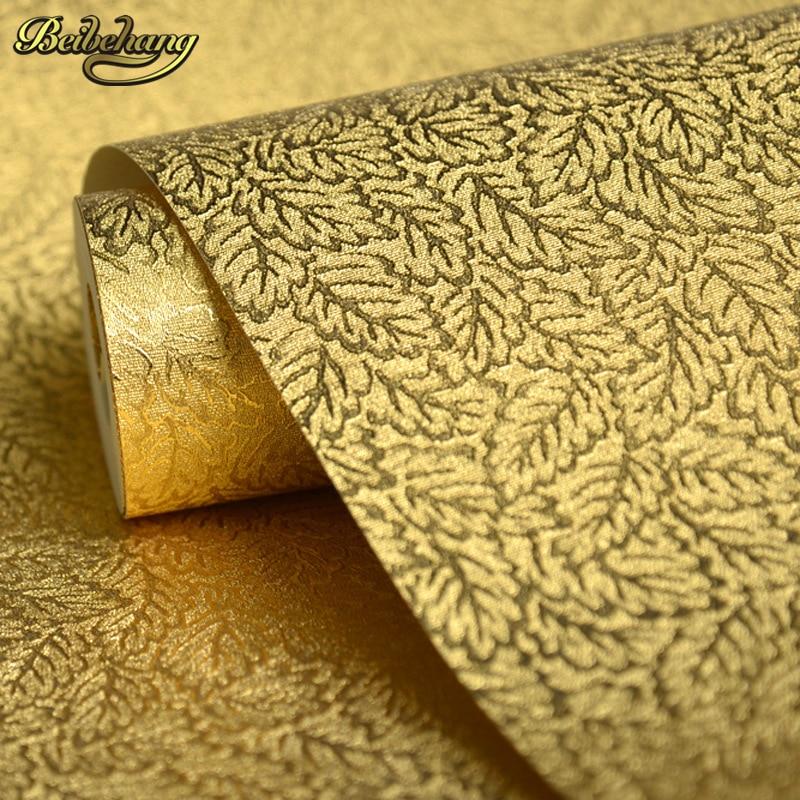 beibehang papel de parede Golden Yellow Gold Red Restaurant Hotel KTV Wallpaper Wedding room golden three - dimensional<br>