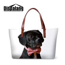 Dispalang cool black dog print women's stylish handbags female tote bag for travelling girls summer beach bags lady wedding bags