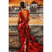 40x50cm Red dress girl & wait Diy oil paintings coloring by numbers hand made canvas painting by numbers modern home decor AL021