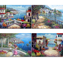 Top Artist Handmade High Quality Modern Abstract Mediterranean Landscape Oil Painting Colorful Europe Landscape Oil Painting(China)