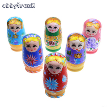 Abbyfrank 5 In 1 Wooden Russian Hand-painted Nesting Doll Matryoshka Doll Russian Doll Souvenirs For Children Christmas Present