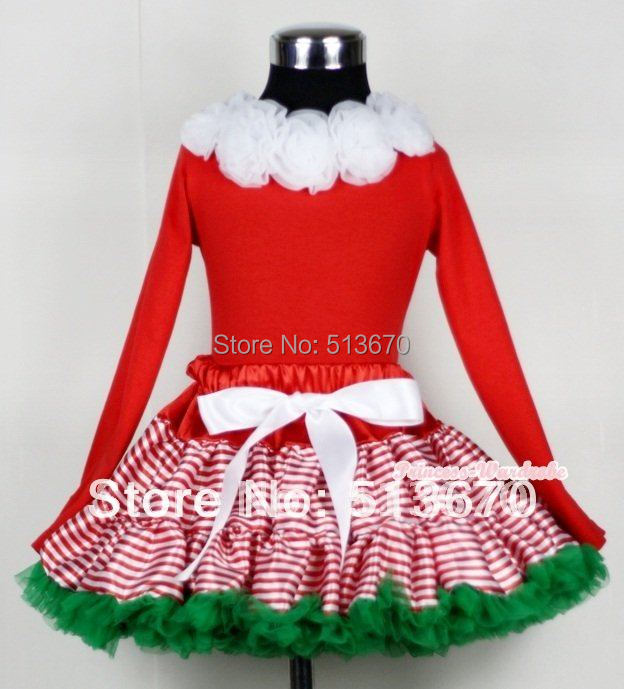 Christmas Red White Striped mix Christmas Green Pettiskirt Matching White Rosettes Red Long Sleeves Top MAMB04<br>