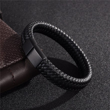 Buy Jiayiqi Punk Men Jewelry Black/Brown Braided Leather Bracelet Stainless Steel Magnetic Clasp Fashion Bangles 18.5/22/20.5cm for $5.70 in AliExpress store