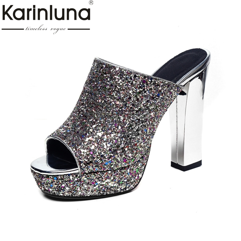 KARINLUNA Big Size 32-42 Women Square High Heels Sweet Open Toe Platform Sequined Cloth Summer Shoes Party Wedding Leisure<br>