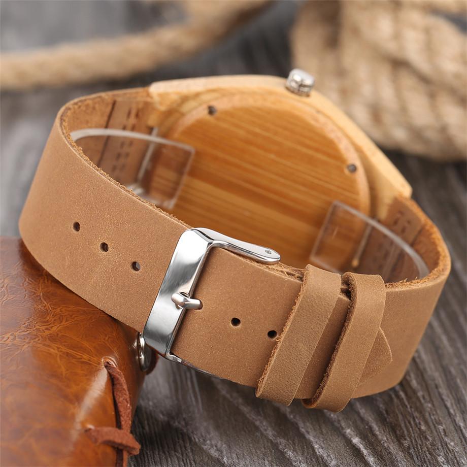 ทำมือไม้ไผ่นาฬิกาสำหรับผู้ชายผู้หญิงS CulptedออกแบบฉลามแบบDialหนังแท้สายคล้องสายนาฬิกาข้อมือ 5