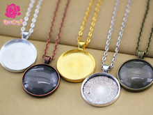 30mm Round Blank Pendant Trays, Bezel Blank Pendant Settings + Rolo Chain Necklace + Clear Glass Cabochon 10 kits