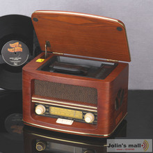 Retro wooden box CD player with Radio/MP3/USB disk/Remote control for home Furnishing decoration(China)