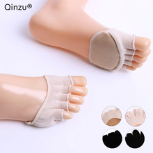Qinzu 4 types Summer girls half palm toe pad socks boat Anti-slip Wear high heels invisible shallow mouth cotton thin female(China)