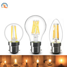 1pcs B22 2w 4w 6w G45 C35 A60 Clear Frosted LED Filament Lamp Bulb lighting 220v AC Warm white CE RoHs(China)