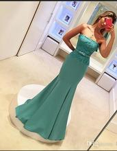 Simple Cheap Price Prom Dresses Lace Strapless Girls Pageant Dress Mermaid Ladies Special Occassion Party Gown Custom Mad