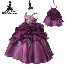 Hg Princess Factory Selling 2t-10t Ankle-length Kids Evening Gowns Purple Flower Girl Dresses For Weddings Party Dress Organza