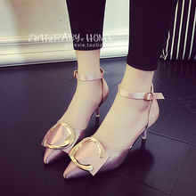 2016 new summer female thin high heels pointed closed pumps with buckle matel PU sandals women pink black sliver designer shoes