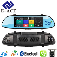 E-ACE 7.0 Inch 3G Car DVR Rear View Mirror Touch Android 5.0 GPS Bluetooth Handfree WIFI 16G Quad Core Video Recorders 2 Dashcam