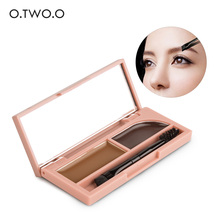 O.TWO.O Professional Eye Brow Makeup Kit Set Waterproof Eyebrow Powder and Gel 2 in 1 With Brush and Mirror(China)