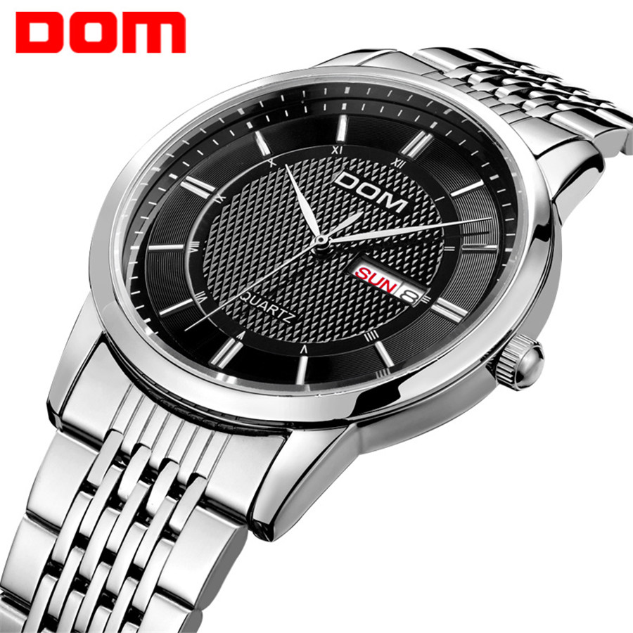 DOM men watch top Luxury Men Quartz Analog Clock Leather Steel Strap Watches hours Complete Calendar Relogios Masculino M-11<br>