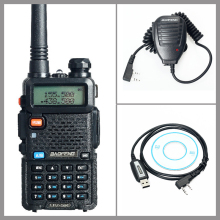 Walkie Talkie Two Way Radio Baofeng UV-5R+USB Programming Cable Driver CD+Handheld Microphone Speaker