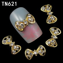 10pcs 3d nail art adhesive rhinestones decoration charms jewelry gold pierced bow design glitter on your nails