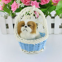 Small Pendant Mini Plush Cats Simulation Pets With Plastic Basket