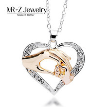 High Quality Mom Mother Gift Big Hand Hold Little Hand Design Heart Pendants Necklaces Fashion Jewelry Supplier 10pcs/lot