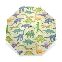 Cartoon Dinosaur Pattern Umbrella Children Cool Custom Personalized Portable Triple Foldable Rain Umbrella Decorative Umbrellas