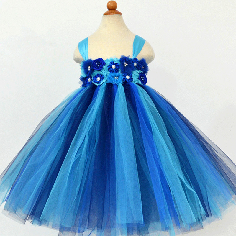 1-8Y Princess Flower Girl Dress Kids Party Pageant Wedding Bridesmaid Tutu Dresses Tulle Girl Costumes Birthday Party Gown Dress<br>
