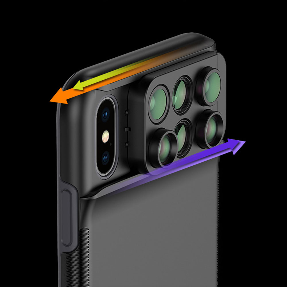 New For iPhone XS Max Dual Camera Lens 6 in 1 Fisheye Wide Angle Macro Lens For iPhone XS XR Xs Max Telescope Zoom Lenses 10