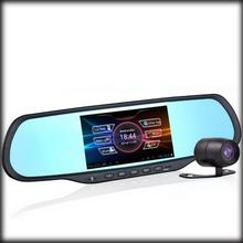 by dhl or ems 20 pieces 5 inch 170 Degree Dual Lens Camera Rearview Mirror GPS Navigation 1080P Android Rearview Car DVR Mirror