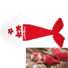 Baby Photo Props Infant Mermaid Red Crochet Knitting Costume Soft Adorable Clothes Photo Photography Props Newborn