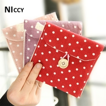 12*11.5cm Sanitary Napkin Storage Bags Dot Printed Linen Storage Organizer For Card Coin Medicine Travel Outside Favor Pouch(China)