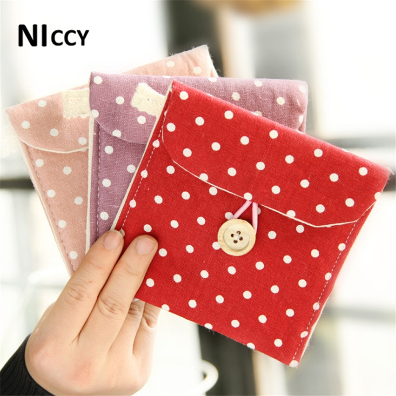 12*11.5cm Sanitary Napkin Storage Bags Dot Printed Linen Storage Organizer For Card Coin Medicine Travel Outside Favor Pouch(China (Mainland))