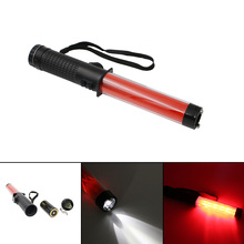 Traffic flashlight powerful led lamp torch lantern traffic police equipment by 3 AA red baton light(China)