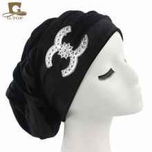 NEW Velvet Turban  Chemo Baggy Hat Slouch Cap Bandana Hair Loss Bonnet Tube with the silver decration