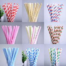 25pcs/lot Stripe Theme Paper Drinking Straw Happy Birthday Wedding Decorative Event Party Supplies Colorful Drinking Straws(China)